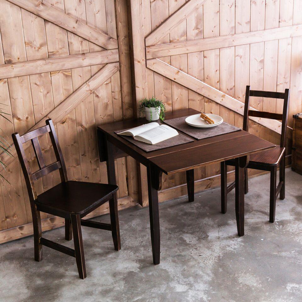 [自然行]-雙邊延伸實木餐桌椅組一桌二椅74x122公分焦糖色