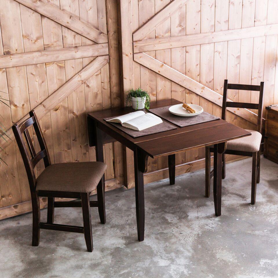 [自然行]-雙邊延伸實木餐桌椅組一桌二椅74x122公分焦糖+咖啡椅墊
