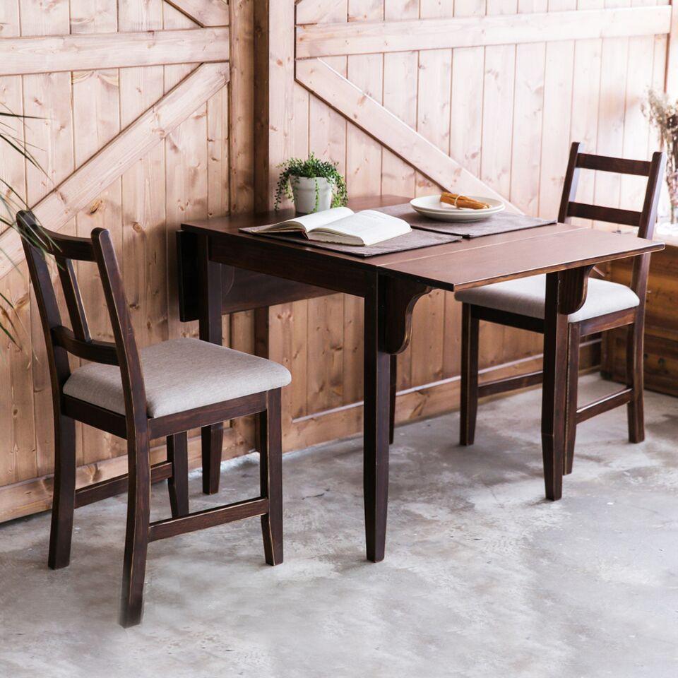 [自然行]-雙邊延伸實木餐桌椅組一桌二椅74x122公分焦糖+淺灰椅墊