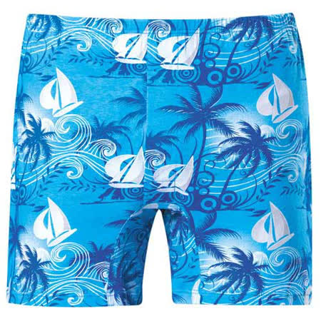 【DADADO】夏日風帆M-3L印花平口褲(舒適藍)