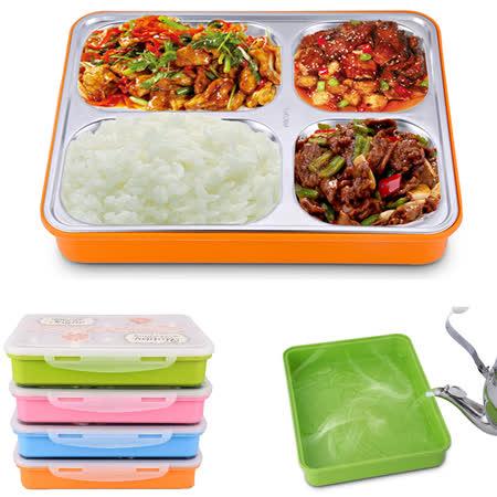 PUSH! 餐具用品304不銹鋼保溫飯盒便當盒防燙餐盤盒(學生成人款)一入E74