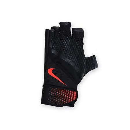(男) NIKE 用加重訓練手套-重量訓練 健身 半指手套 黑橘 L