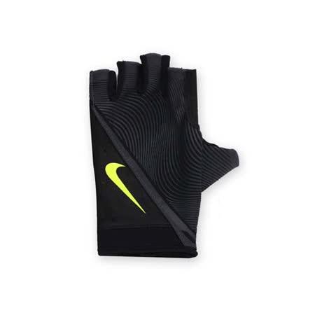 (男) NIKE 用動態訓練手套-重量訓練 健身 半指手套 黑螢光綠 M