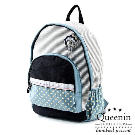 DF Queenin日韓 - 日系海洋水手風帆布款後背包-共2色