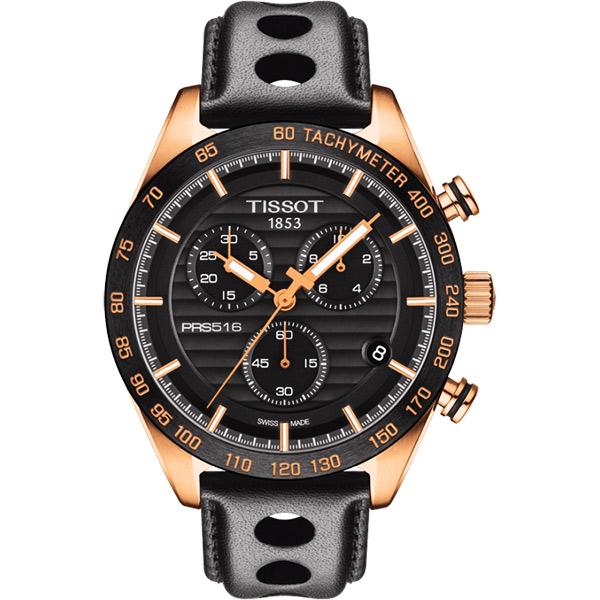 TISSOT PRS516 三眼計時腕錶~黑x玫塊金框42mm T100417360510