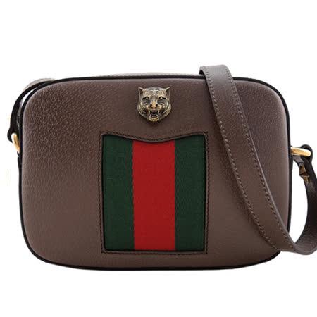 GUCCI ANIMALIER DISCO 古銅虎頭紅綠織帶斜背包(咖啡)