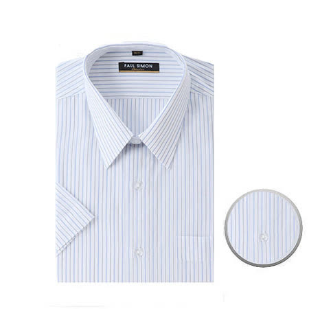 Paul Simon易整燙條紋短袖襯衫藍灰條(15~17.5)
