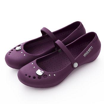 HOLLO KITTY 飾扣輕量防水娃娃鞋910633(紫色)