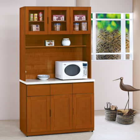 HAPPYHOME 泰豐樟木色4尺石面餐櫃UZ6-323-3