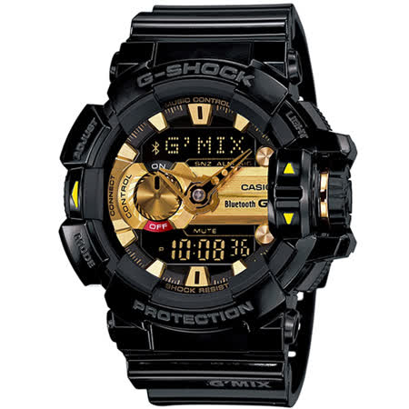 CASIO 卡西歐 G-SHOCK GBA-400音樂控制黑金腕錶/黑金/GBA-400-1A9