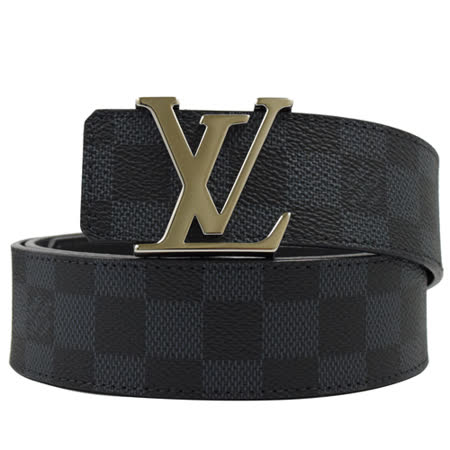 【私心大推】gohappy快樂購Louis Vuitton LV M9210S 黑棋盤格紋紋路易威登字母飾扣皮帶 100CM  現貨評價好嗎美麗 華 百貨