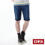 EDWIN 大尺碼 迦績褲 涼爽牛仔短褲-男-石洗綠