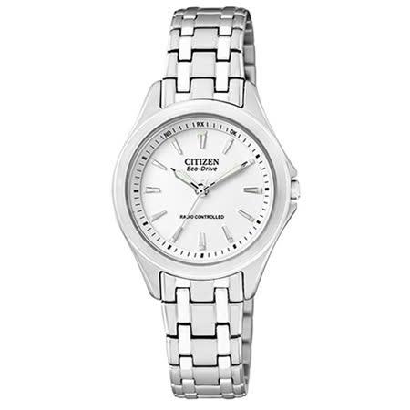 CITIZEN星辰 光動能簡約時尚電波女用腕錶-白/ES5040-51A