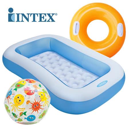 【INTEX】長方形幼兒水池歡樂套組(泳池+泳圈+海灘球) 57403+59050+59258