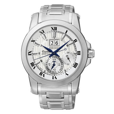 SEIKO 精工 PREMIER 人動電能大視窗羅馬帝國時尚腕錶/銀 7D56-0AB0S