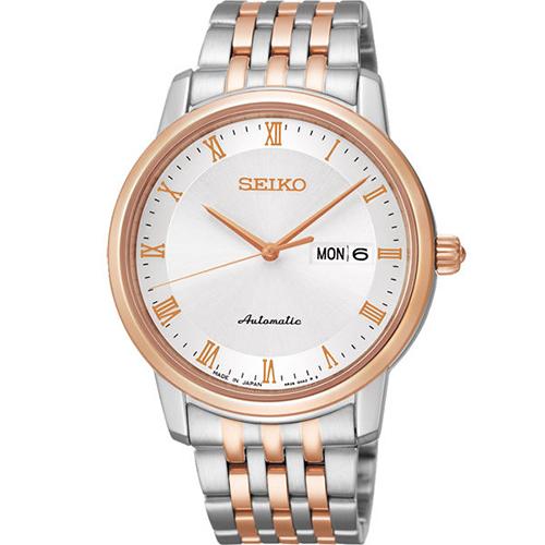 SEIKO 精工 Presage 羅馬時光機械腕錶銀白x雙色版40mm~4R36~04E0