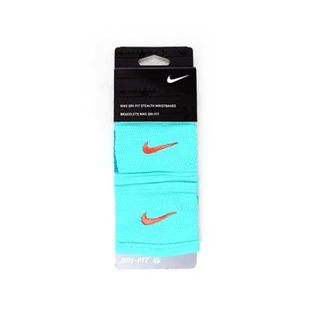 NIKE DRI-FIT 主客場雙色腕帶-慢跑 籃球 網球 羽球 一雙入 湖水綠橘 F