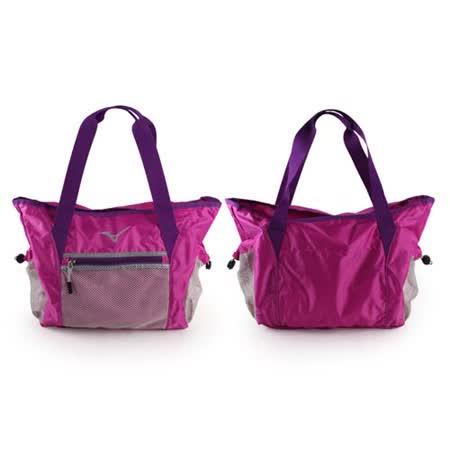(女) MIZUNO 用側肩袋-可收納-美津濃 側背包 斜背包 旅行袋 行李包 紫 F