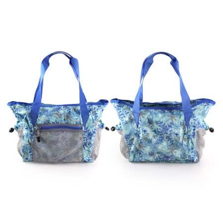 (女) MIZUNO 用側肩袋-可收納-美津濃 側背包 斜背包 旅行袋 行李包 湖水綠藍 F