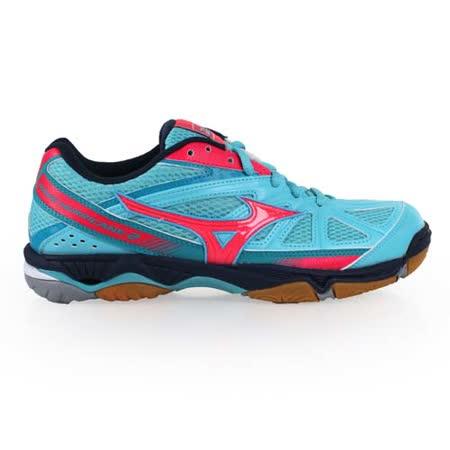 (女) MIZUNO WAVE HURRICANE 2排球鞋- 美津濃 羽球 水藍桃紅
