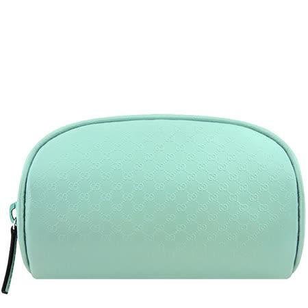 GUCCI 小牛皮雙G壓紋化妝包-水藍色