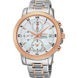 SEIKO Premier 羅馬計時三眼腕錶錶/珍珠貝x雙色版/37mm/7T92-0TG0S SNDV68J1