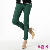 SOMETHING 低腰彩色窄直筒色褲-女-灰綠