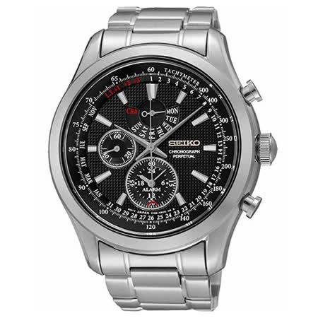 SEIKO 黑色風暴 萬年曆鬧鈴計時腕錶-黑x銀/44mm 7T86-0AC0D(SPC127P1)