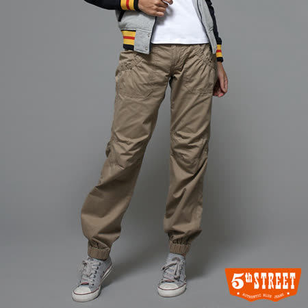 5th STREET 寬版綁帶束口休閒褲-女-土黃