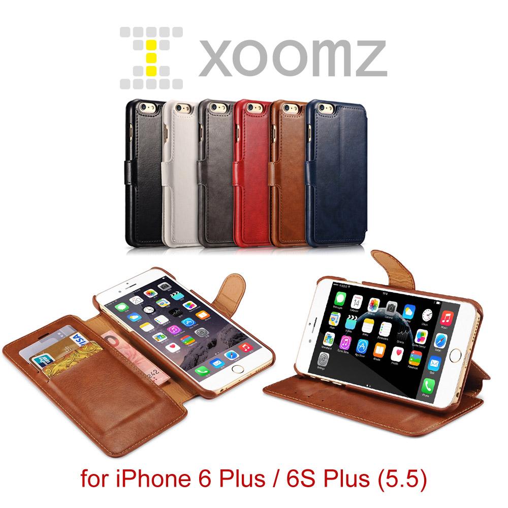 XOOMZ 雙色錢包 iPhone 6 Plus 6S Plus 磁扣側掀 可立皮套