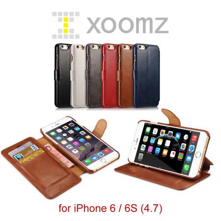 XOOMZ 雙色錢包 iPhone 6 / 6S 磁扣側掀 手工可立皮套