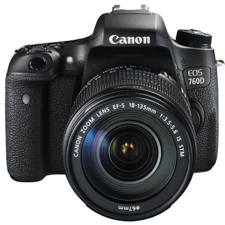 Canon EOS 760D 18-135mm STM 單鏡組(公司貨)-送64G記憶卡+遮光罩+相機包+保護貼+清潔組