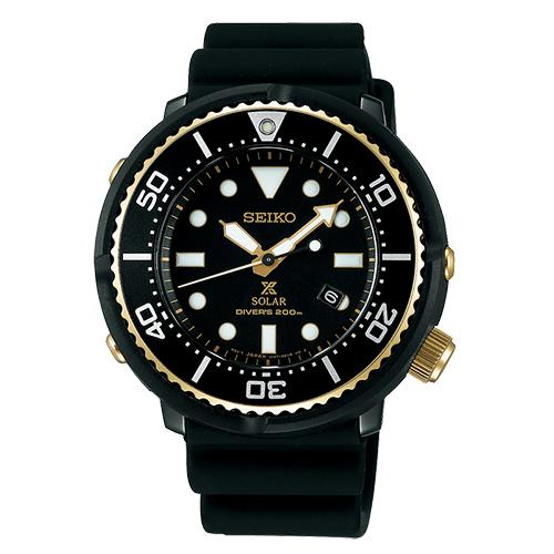 SEIKO 精工 PROSPEX 限量鮪魚罐頭黑金潛水錶/45.8mm/V147-0BB0SD(SBDN028J)