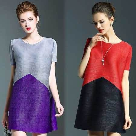 【歐風KEITH-Will】時尚百搭雙色拼接短袖長版上衣