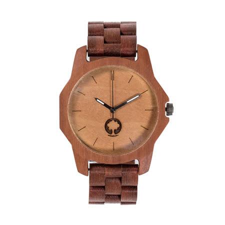 Plantwear 歐洲手工製實木手錶-Sierra series-活力橙-紅檀木(48mm)