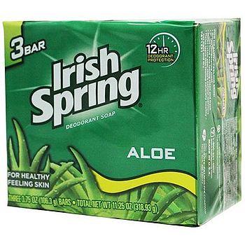 美國 Irish Spring 蘆薈香皂 106.3g/3.75oz(3入組)