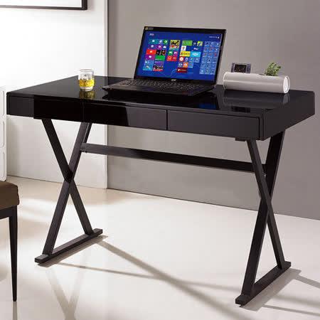 【幸福屋】Mitch 4尺黑色黑腳三抽鋼烤書桌