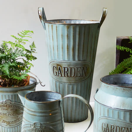 【Meric Garden】歐式仿舊復古雜貨風鐵藝裝飾花器 (高桶)