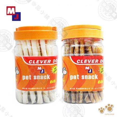 【2入超值】MJ-CLEVER DOG 麻花棒罐~(原味/牛奶口味) 寵物零食點心 狗零食 牛皮骨