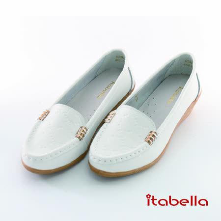 itabella.壓紋花牛皮包鞋(白色)