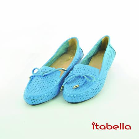 itabella.時尚舒適 真皮Q軟洞洞休閒包鞋(藍色)