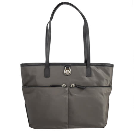 MICHAEL KORS 經典LOGO尼龍皮飾邊肩背購物包.灰