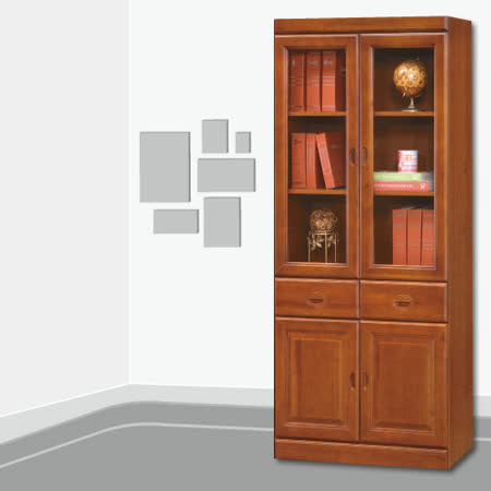 【AS】Robin2.6尺實木樟木色中抽書櫃