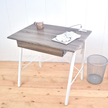 【凱堡】北歐風工作桌 立體浮雕PC書桌 桌子90公分 (充電插座)