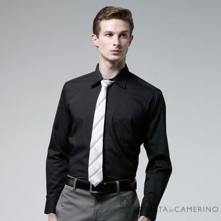 ROBERTA諾貝達 台灣製 合身版 型男風潮素面長袖襯衫 黑色