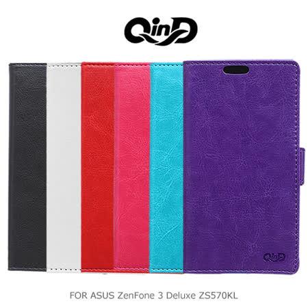 QinD ASUS ZenFone 3 Deluxe ZS570KL 水晶帶扣插卡皮套
