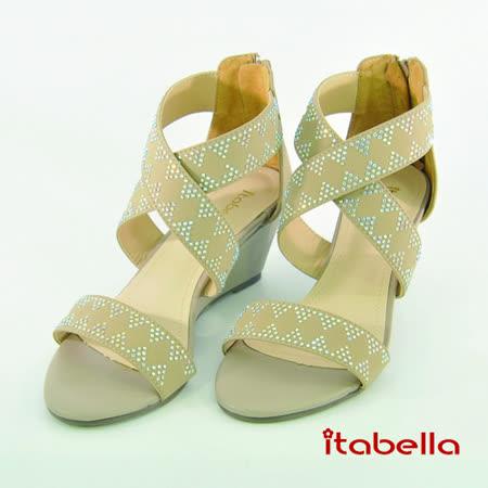 itabella.氣質典雅 鑲鑽楔型涼鞋(棕色)
