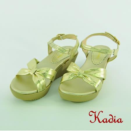 kadia.舒適羊皮交叉涼鞋(金色)