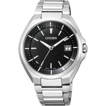CITIZEN 鈦金屬光動能電波腕錶-黑x銀/40mm CB3010-57E