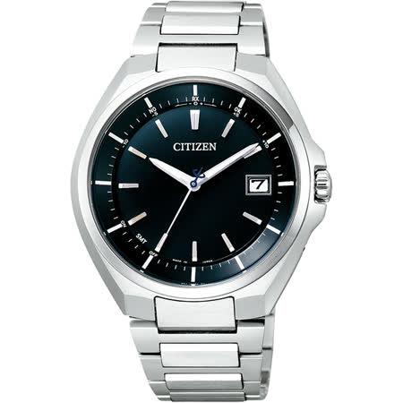 CITIZEN 鈦金屬光動能電波腕錶-藍x銀/40mm CB3010-57L